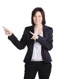 Emocjonalna biznesowa kobieta. Odizolowywający nad bielem Zdjęcie Royalty Free