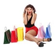 emocjonalna dosyć shopaholic kobieta Zdjęcie Stock