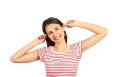 Emocjonalna dziewczyna bawić się pozować przy kamerą emocjonalna dziewczyna odizolowywająca na białym tle obrazy stock