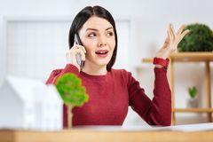 Emocjonalna młoda kobieta używa gesty podczas gdy opowiadający na telefonie Fotografia Stock