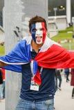 Emocjonalny fan Francja obywatela drużyna futbolowa fotografia royalty free