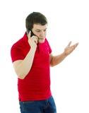 Emocjonalny mężczyzna opowiada na telefonie Zdjęcie Royalty Free