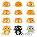 Emoções do gato dos desenhos animados do vetor Fotografia de Stock Royalty Free