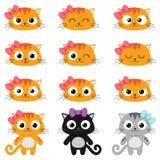 Emoções do gato dos desenhos animados do vetor Fotografia de Stock