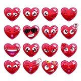 Emoções engraçadas do caráter do coração dos desenhos animados ajustadas Imagens de Stock