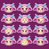 Emoções engraçadas do monstro da menina do rosa dos desenhos animados ajustadas Fotografia de Stock