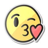 Emoji亲吻的微笑的面孔,与亲吻爱嘴唇的意思号,传染媒介例证 库存照片