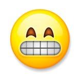 Emoji在白色背景,意思号做鬼脸的面孔隔绝了 库存照片