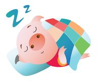 Emoji字符 睡觉在毯子下的猪 向量例证