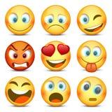 Emoji και λυπημένο σύνολο εικονιδίων επίσης corel σύρετε το διάνυσμα απεικόνισης Στοκ φωτογραφία με δικαίωμα ελεύθερης χρήσης