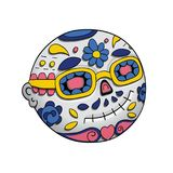 Emoji που χαμογελά με τα γυαλιά ηλίου ημέρα νεκρή Dia de Los Muertos αποκριές επίσης corel σύρετε το διάνυσμα απεικόνισης Στοκ φωτογραφίες με δικαίωμα ελεύθερης χρήσης