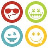 Emoji, значки белизны смайликов иллюстрация штока