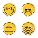 Emoji, значки смайликов в линии стиле иллюстрация штока