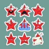 Emoji играет главные роли значки Стикеры Emoji Стоковая Фотография