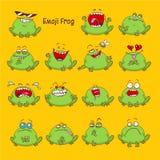 Emoji лягушки, установленные значки улыбки жабы Стоковые Изображения