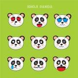 Emoji медведя панды, установленные значки улыбки панды Стоковая Фотография
