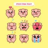 Emoji свиньи, piggy установленные значки улыбки Стоковая Фотография