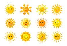 Emoji Солнца Смайлики утра смешного младенца солнца лучей солнечности весны лета счастливые Солнечные усмехаясь значки вектора ст бесплатная иллюстрация