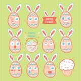 Emoji яичка дня пасхи, установленные значки улыбки яичка Стоковое Изображение RF