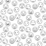 概述圆的微笑emoji无缝的样式 意思号象线性样式传染媒介 免版税图库摄影