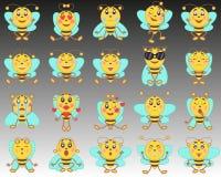 套在一个平的样式的emoji意思号 一套在背景的被隔绝的动画片蜂从黑到白色 免版税库存照片