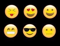 Emoji& x27; angewiderte Liebes-glückliche frustrierte kühle verblüffte Gesichter s Stockbild