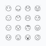 Emoji avatar collection set, emoticons isolated icons flat line Royalty Free Stock Images