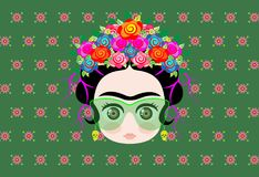 Emoji baby Frida Kahlo with crown of colorful flowers and glasses royalty free illustration