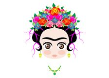 Emoji baby Frida Kahlo with crown of colorful flowers, isolated stock illustration