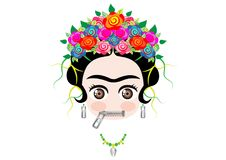 Emoji baby Frida Kahlo with crown and of colorful flowers, Zipper Mouth Face Emoji, vector isolated Royalty Free Stock Image