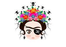 Emoji-Baby Frida Kahlo mit Krone und von den bunten Blumen, Piratenikone Emoji, Vektor lokalisiert Stockfotos