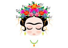 Emoji baby Frida Kahlo sleeping with crown and of colorful flowers,  isolated. Or white background Stock Images