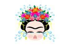 Emoji baby Frida Kahlo to cray  with crown and of colorful flowers, baby girl cries, vector isolated.  Royalty Free Stock Photography