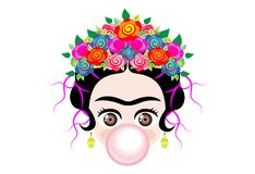 Emoji baby Frida Kahlo to cray with crown and of colorful flowers, baby girl with gum bubble, vector isolated vector illustration
