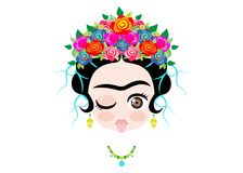 Emoji baby Frida Kahlo to the tongue out with crown and of colorful flowers, isolated stock illustration