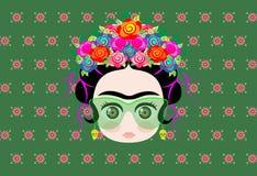 Emoji behandla som ett barn Frida Kahlo med kronan av färgrika blommor och exponeringsglas royaltyfri illustrationer