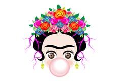 Emoji behandla som ett barn Frida Kahlo till cray med kronan och av färgrika blommor, behandla som ett barn flickan med gummibubb vektor illustrationer