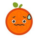 Emoji - bekymmerapelsin med droppe av svett Isolerad vektor royaltyfri illustrationer