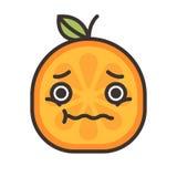 Emoji - bekymmerapelsin med droppe av svett Isolerad vektor stock illustrationer