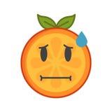 Emoji - bekymmerapelsin med droppe av svett Isolerad vektor vektor illustrationer