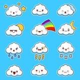 Emoji bewölkt Vektor Nette smily Wolken mit Gesichtsvektorsatz Karikatur lustiger Emoticon Lizenzfreies Stockbild