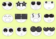 Emoji bonito linear das caras Foto de Stock Royalty Free