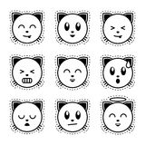 Emoji cat. Black and white emoji. Royalty Free Stock Images