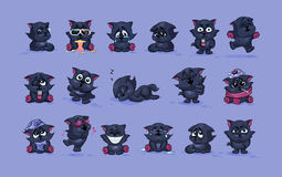 Emoji character cartoon black cat stickers emoticons with different emotions Stock Photos