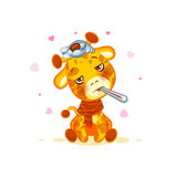 Emoji character cartoon Giraffe sick with thermometer in mouth sticker emoticon Stock Images