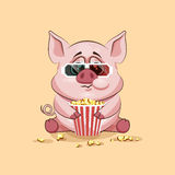 Emoji character cartoon Pig chewing popcorn, watching movie in 3D glasses sticker emoticon. Vector Stock Illustration Emoji character cartoon Pig chewing popcorn Royalty Free Stock Photography