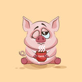 Emoji character cartoon Pig just woke up with cup of coffee sticker emoticon Royalty Free Stock Photo
