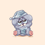 Emoji character cartoon sleepy Gray leveret in nightcap with pillow sticker emoticon Stock Photography