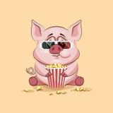 Emoji-Charakter-Karikatur Schwein, das Popcorn, aufpassenden Film in Emoticon Aufkleber der Gläser 3D kaut Lizenzfreie Stockfotografie