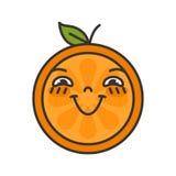 Emoji - cieszy się pomarańcze z szczęśliwym uśmiechem Odosobniony wektor ilustracji
